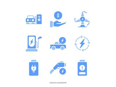 Solid Color Icon Set vector filled icon solid icon icon minimalist logo ux ui icon design icon icon mobile icon design electric car