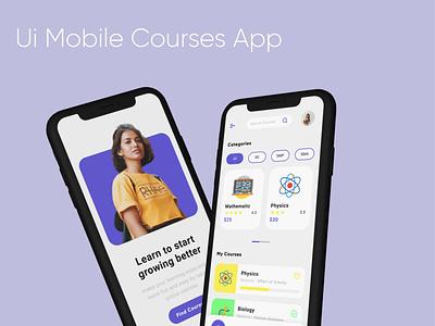 Ui Mobile Courses App Design - UI/UX Design vector branding purple ui course app figma ux ui mobile app web design