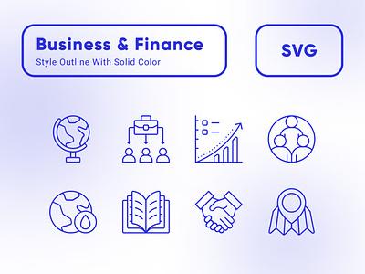 Outline Blue Color Icon Design | Business & Finance Theme logo design vector flat icon blue icon web design mobile app ux ui finance icon business icon outline icon icon