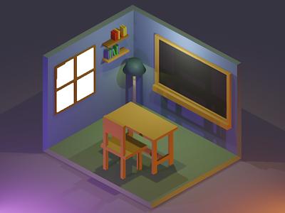 3D Isometric Night Class Room basic 3d minimal 3d room 3d object blender graphic design isometric 3d