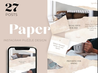 Instagram puzzle template for woman blogger and store paper art template design blog design blogging blogger social media instagram post instagram template puzzle template puzzle instagram