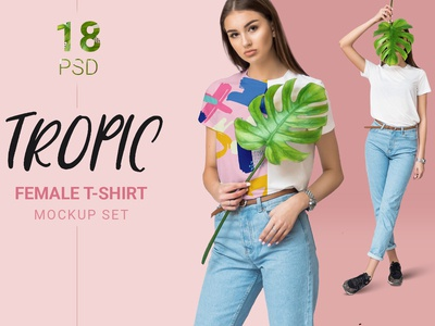 Female T Shirt Mockup Set With Real Fashion Model Photography An