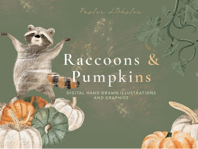 Raccons and pumpkins