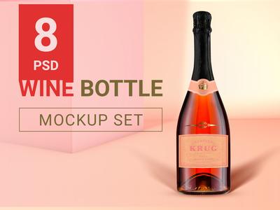 Wine bottle mockup set