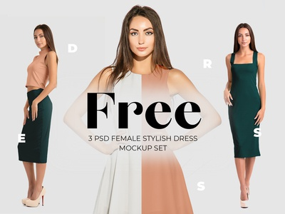 Free elegant dress mockups for fabric designers