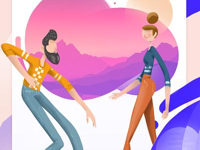 Couple flat  design edition illustration graphic  design character design