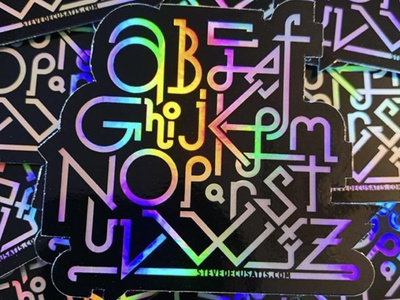 ABCD - Holographic holographic foil stickermule stickers sticker monoweight customtype design lettering type abc