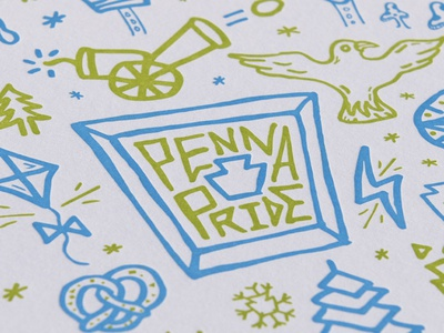 Penna Pride Print typography type letters lettering handdrawn pretzels pretzel snowflake snow trees tree freedom philadelphia phila philly keystone pennsylvania pa pride penna
