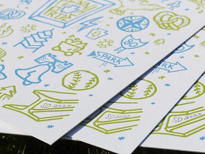 Penna Pride Print Detail icons typography lettering type handdrawn handdone illustration design print letterpress pretzels pretzel trees tree park pennsylvania keystone pride penna