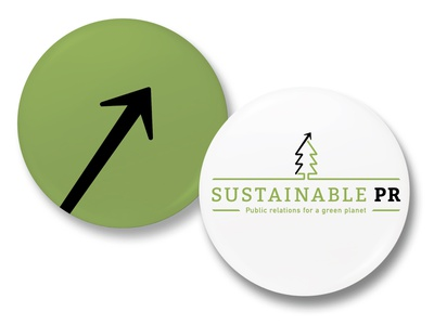 Sustainable PR promo buttons economic growth green logo branding brand design graphic design public relations pr sustainability sustainable environment nature tree arrow pins pin buttons button