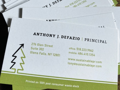 Sustainable PR Business cards business card stationery print paper recycled recycle arrow logo design logo graphic design design environment healthy trees tree green earth sustainability pr sustainable
