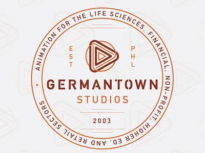 Germantown Studios play button branding brand lockup phl pa philadelphia philly arrow icon logo design graphics motion animation studio