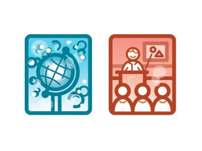 Icons icons globe world bubbles teacher classroom teach learn