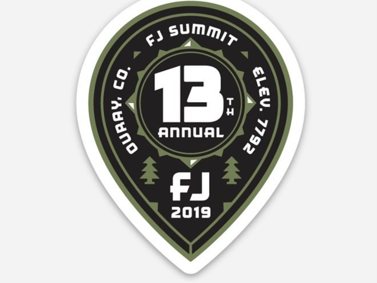 FJ Summit badge ouray truck colorado trees tree summit 13 pin drop