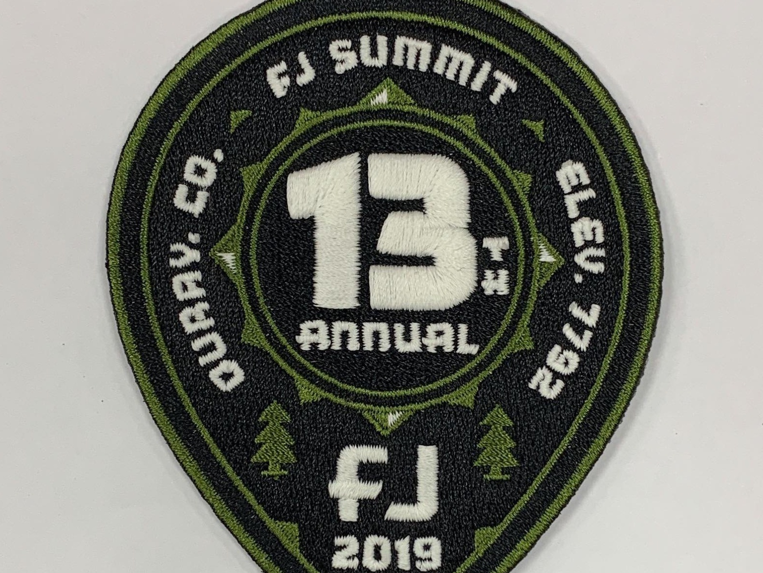 FJ Patch badge trees tree co colorado pin location logo design embroidery embroider patch summit fj