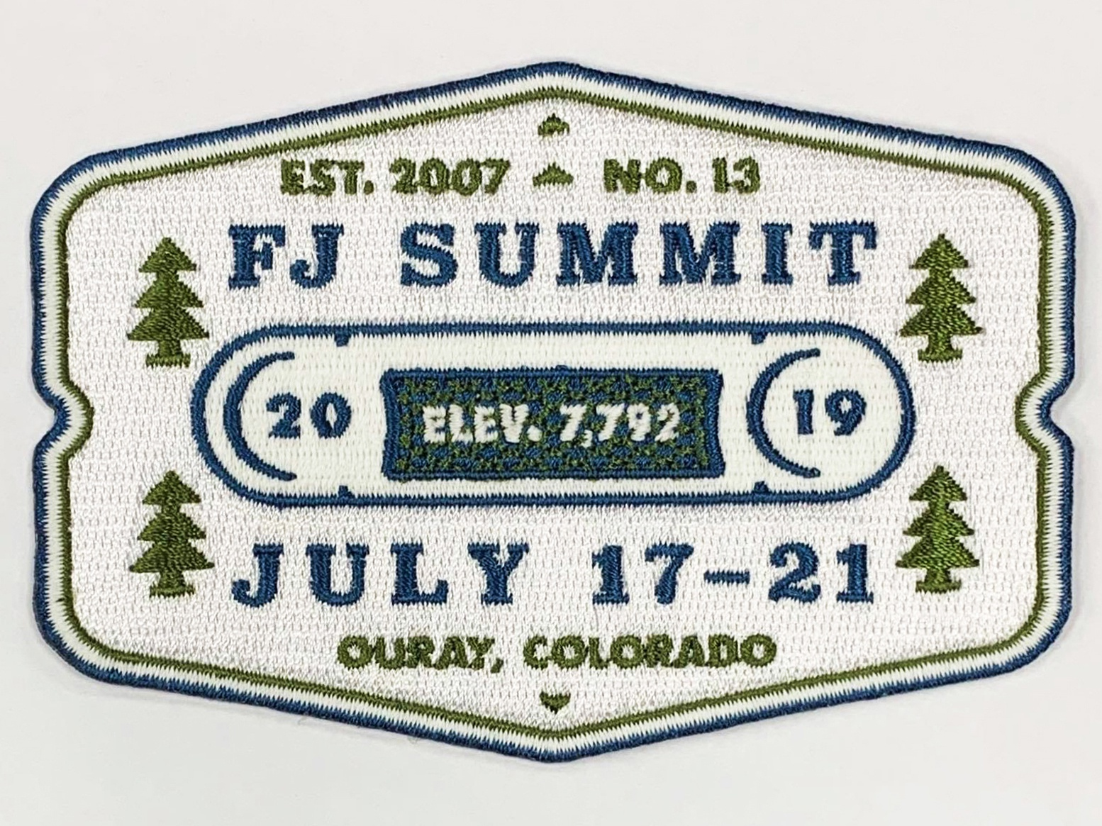 FJ Summit 2019 badge trees tree embroidery patch colorado co ouray fjsummit fj summit