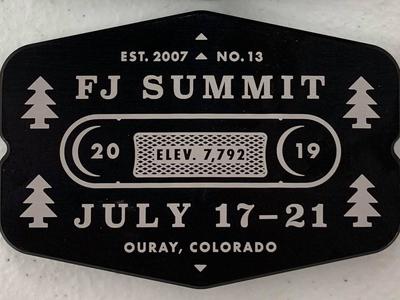 FJ Summit Billet Badge