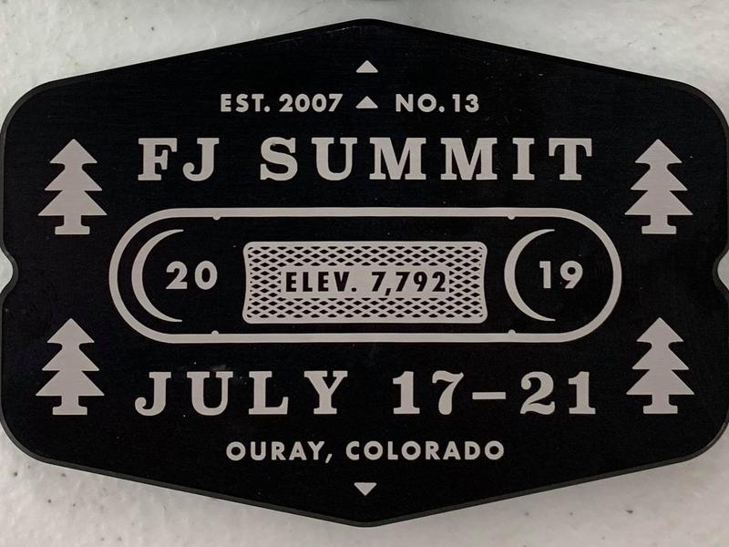 FJ Summit Billet Badge trees tree branding co ouray colorado metal summit fj toyoto logo type lockup badges badge billet
