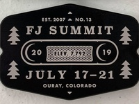 FJ Summit Billet Badge