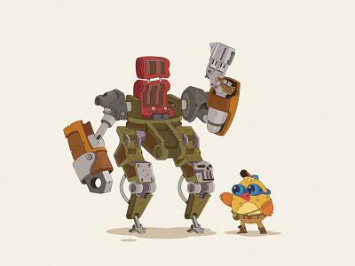 Mechanic character concept concept chicken bird robot characterdesign cartoon illustration cartoon character cartoon character vector illustration flat illustration flatdesign flat