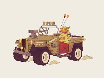 Rusty rider mad max rusty jeep car illustration car characterdesign cartoon illustration cartoon character cartoon character vector illustration flat illustration flatdesign flat