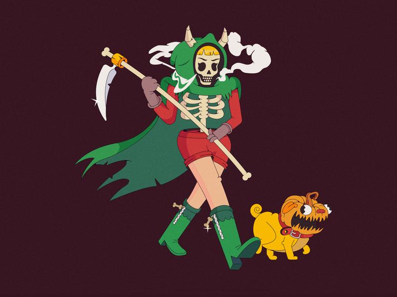 Character design smoke skeleton spooky death dog characterdesign cartoon illustration cartoon character cartoon character vector illustration flat illustration flatdesign flat