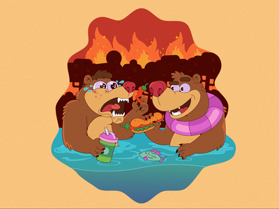 Bears fire forest spice spicy bear character design bears design characterdesign cartoon illustration cartoon character cartoon character vector illustration flat illustration flatdesign flat