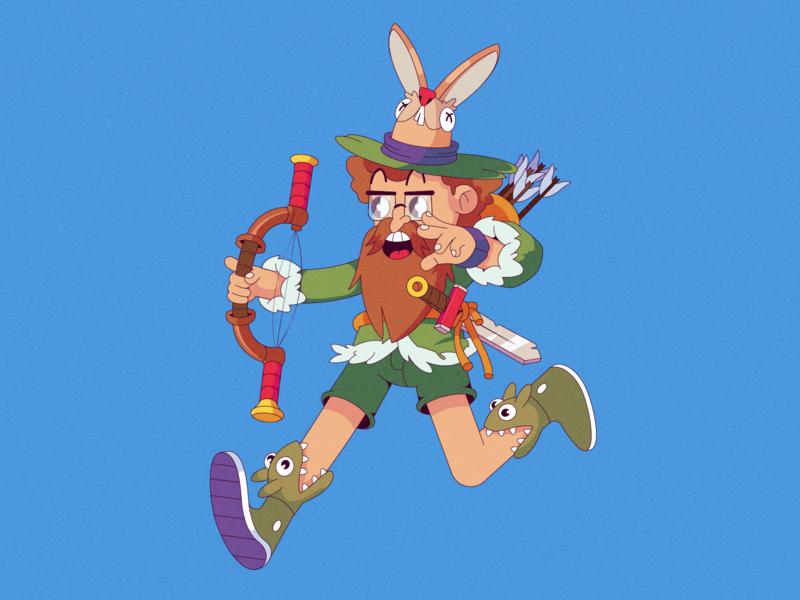 collab hunter arrows bow rabbit robinhood characterdesign cartoon illustration cartoon character cartoon character vector illustration flat illustration flatdesign flat