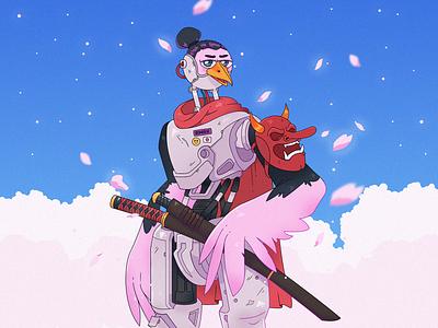 Samurai cyborg robot bird character bird sakura japan stylized character cartoon character character design character cartoon illustration samurai