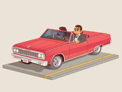You Never Can Tell pulp fiction stylized illustration stylized car stylized character car illustration car character design cartoon character character cartoon illustration