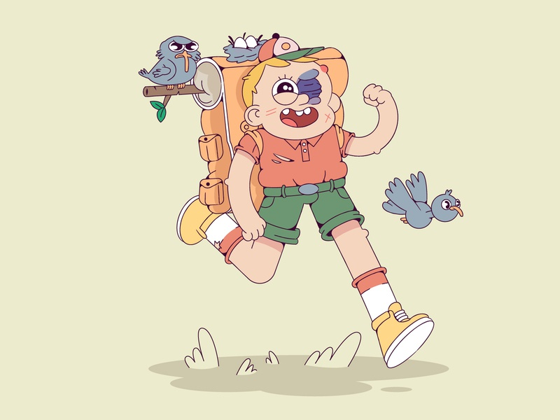 Optimist bird birds nature forest boy scout characterdesign cartoon illustration cartoon character cartoon character vector illustration flat illustration flatdesign flat