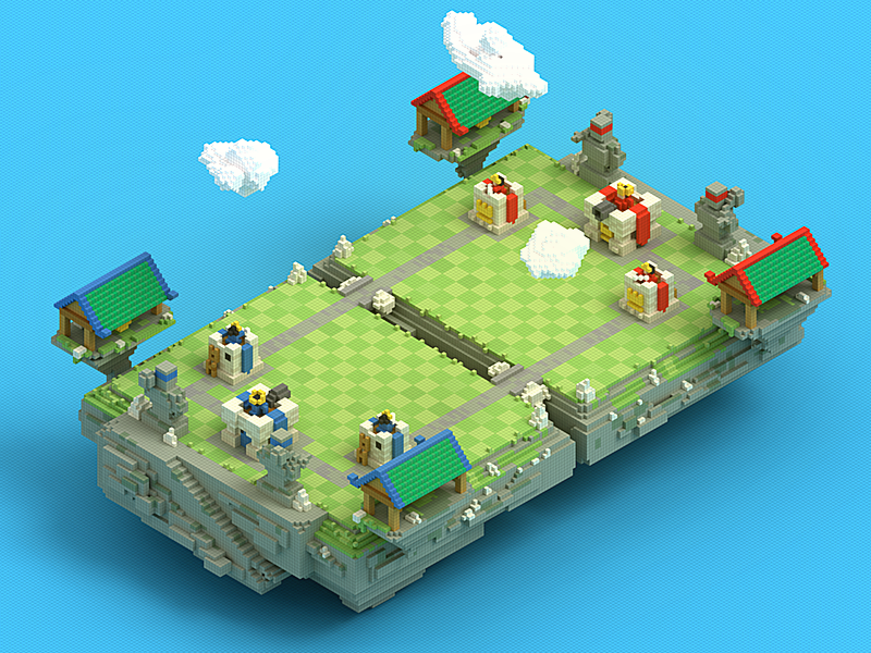 voxels of clash royale scene by tc