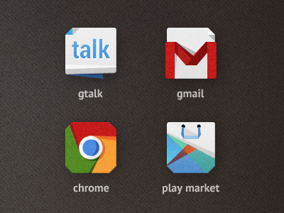 TARCON for Android Part 1 icon android google system chrome gtalk gmail play market app application paper carton flat