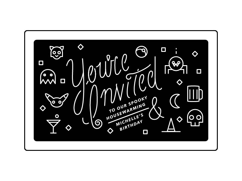 Housewarming Invite halloween handlettering calligraphy illustration