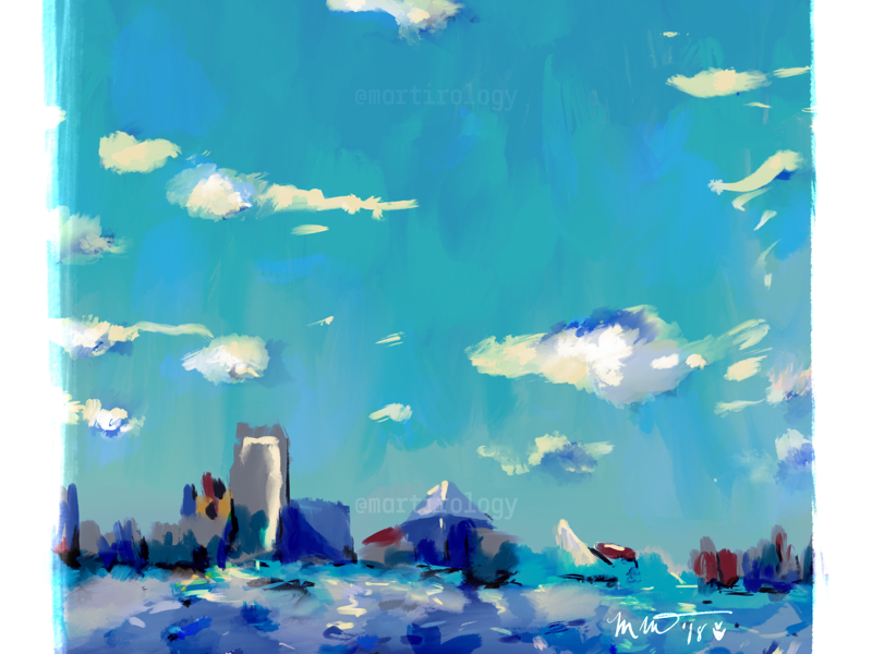 Baltimore building ship boat harbor maryland city clouds sky water illustration baltimore