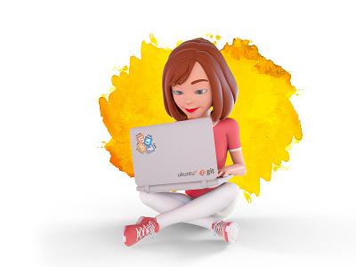 3D Laptop octanerender character design vector illustrator design character illustration 3d