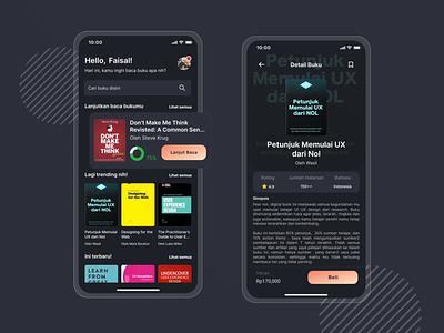 #Exploration - Book Store App iphone x dark ui dark mode app design ui