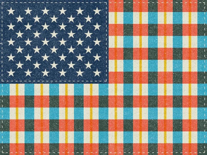 Plaid Flag vintage retro flannel art hipster july 4th america design flag usa illustration pattern