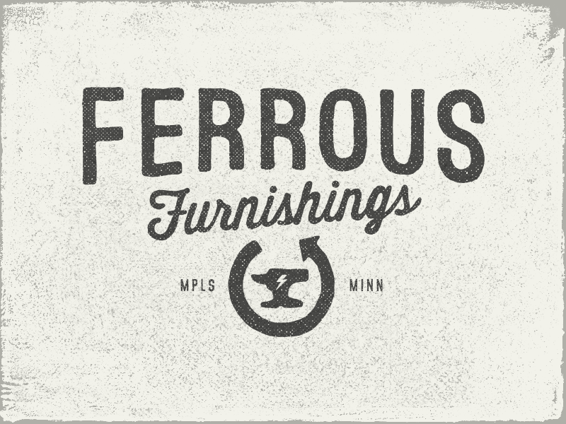 Ferrous Furnishings upcycle anvil decor recycle mark vintage graphic icon typography design logo