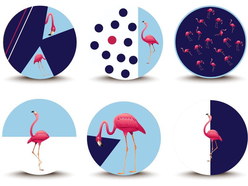 Coaster Flamingos adobe illustrator design graphic design