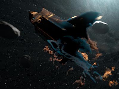 Shuttle Disintegration 3d space smoke volumes arnold cinema4d render