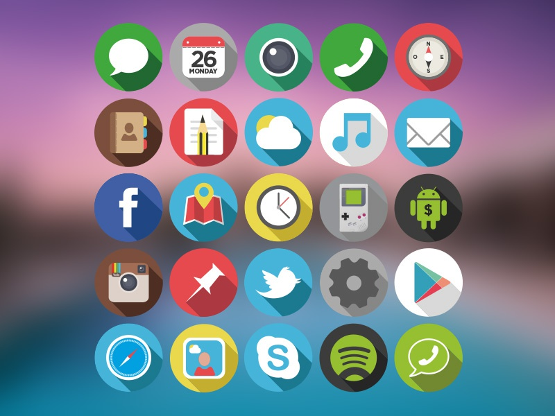 Flat Rounded Icons  icons flat design graphics