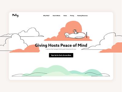 Polly Landing Page branding website desktop travel airbnb illustration ux ui landingpage