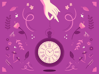 Mystical Time design magic mystical flowers procreate illustration time