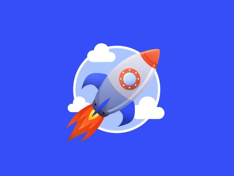Rocket Badge figma emoji sky rocket illustration vector