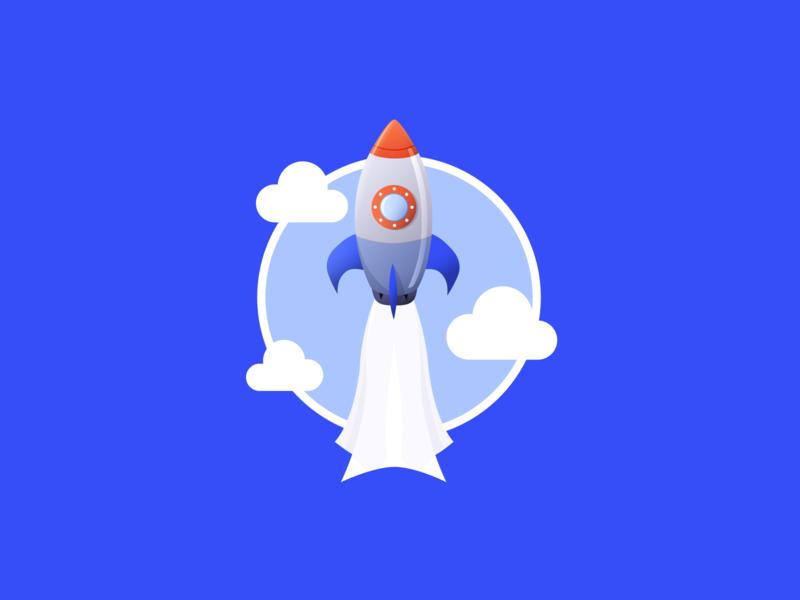 Flying Rocket Badge badge emoji figma rocket illustration vector