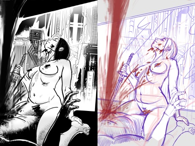 personal comic characters drawing ink concept woman sketch draw comics illustration
