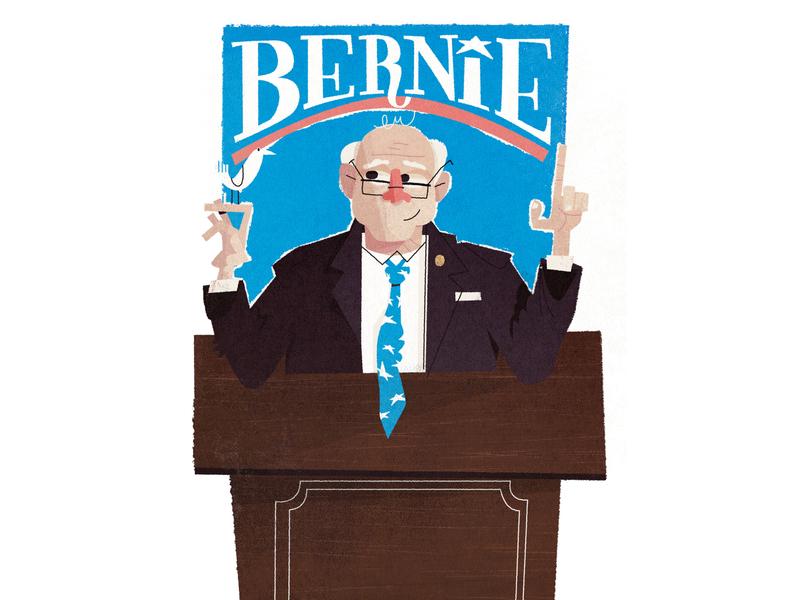 Bern portrait art glasses tie lettering bird speech podium politics politician suit nose figure illustration portrait bernie sanders bernie
