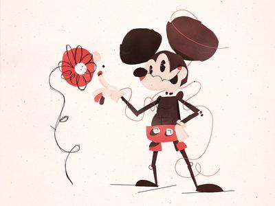 Mickey Mouse character design character animal rodent rat illustrator adobe illustrator illustration flower mouse fan art mickey mouse disney mickey