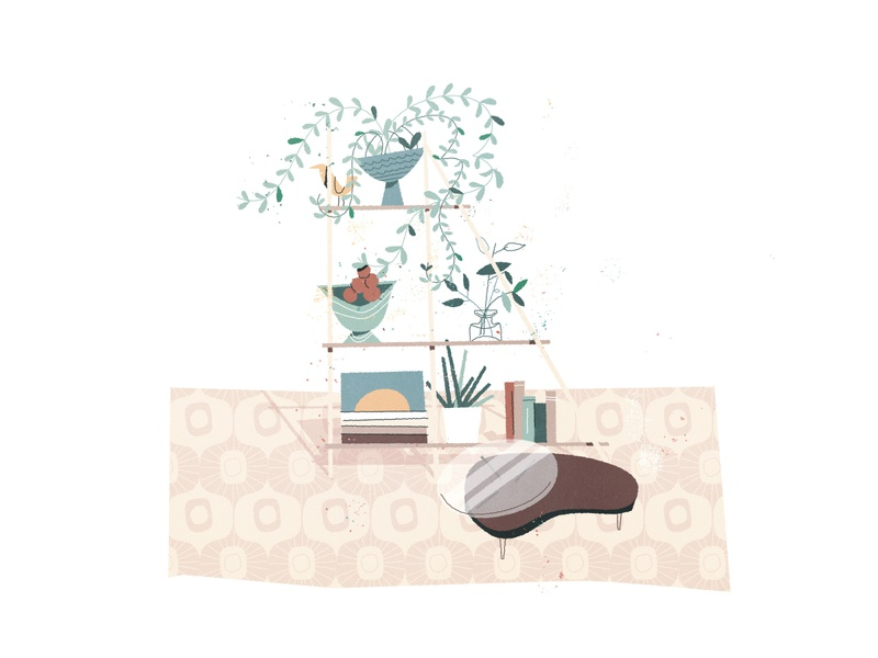Bookcase bookstore living room coffee bookshelf illustration modern minimal hygge cozy home office plant organic foliage flowers plants books
